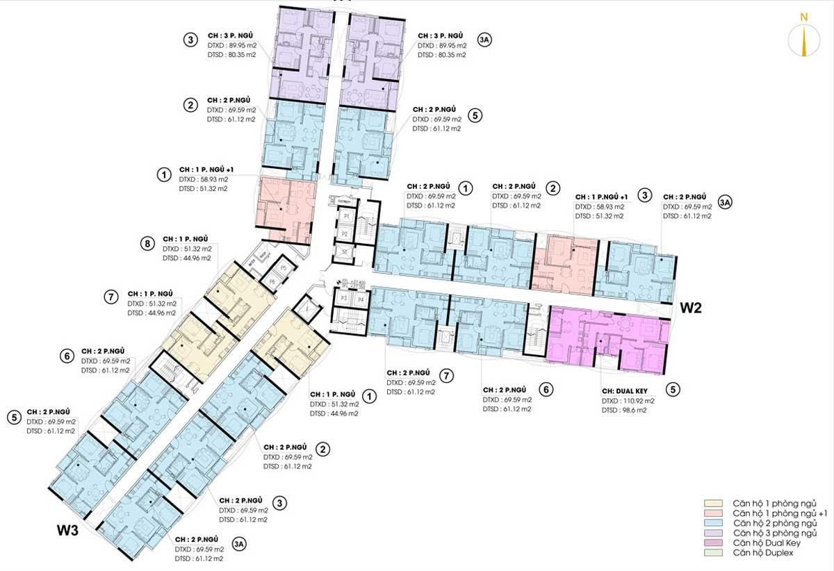 Mặt bằng tầng Dự án Khu nhà ở Thương mại Dịch vụ cao tầng Lê Phong Bình Dương