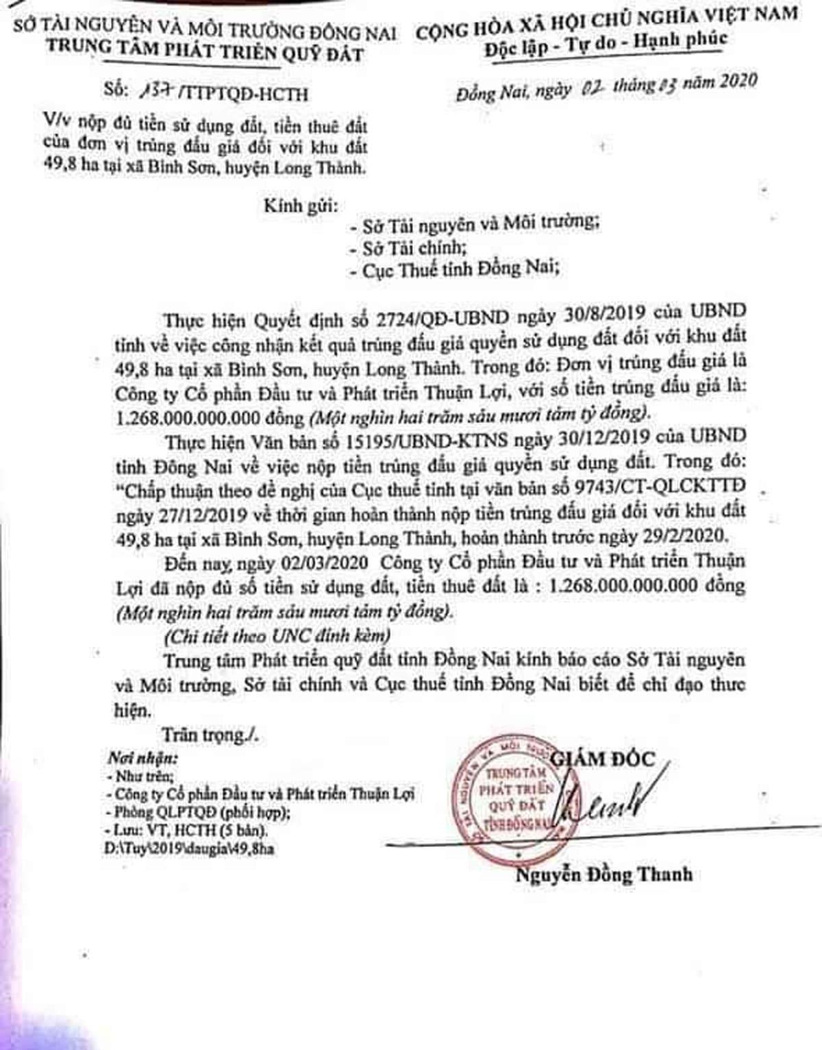 Chứng từ Đóng tiền sử dụng đất Dự án Khu Dân cư Bình Sơn Long Thành Đồng Nai