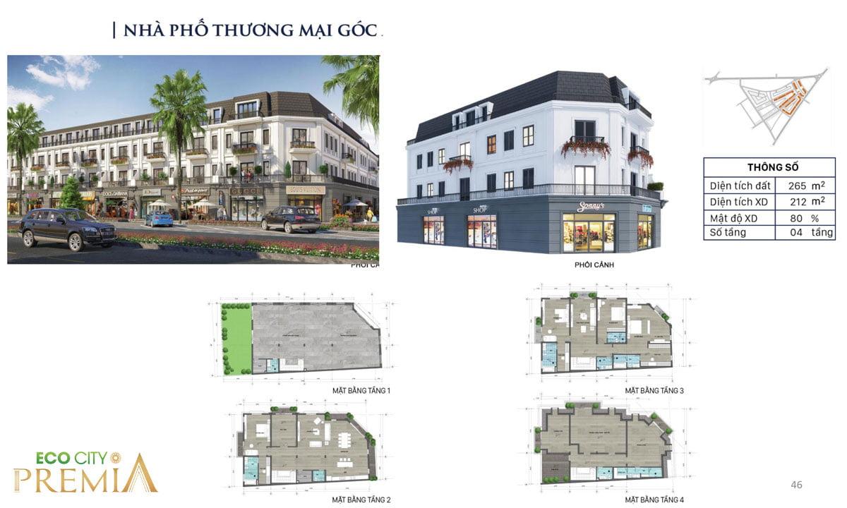 Thiết kế nhà phố dự án eco city premia