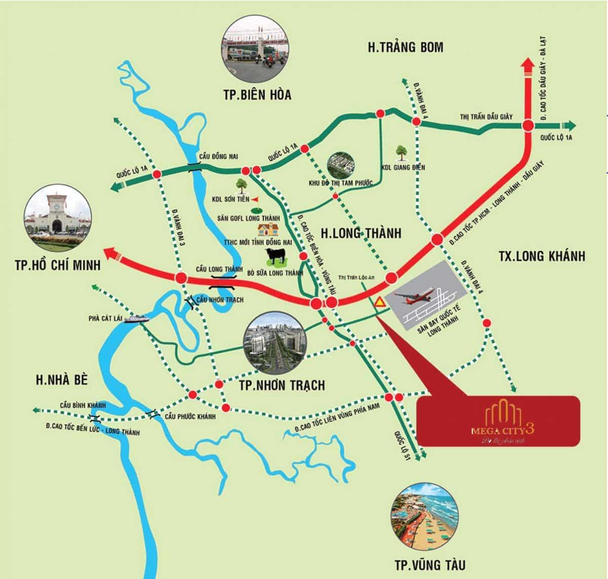 Vị trí Dự án Mega City 3 Long Thành Đồng Nai