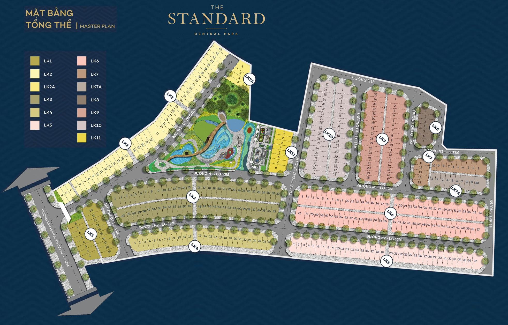 Mặt bằng Dự án Nhà phố The Standard Bình Dương