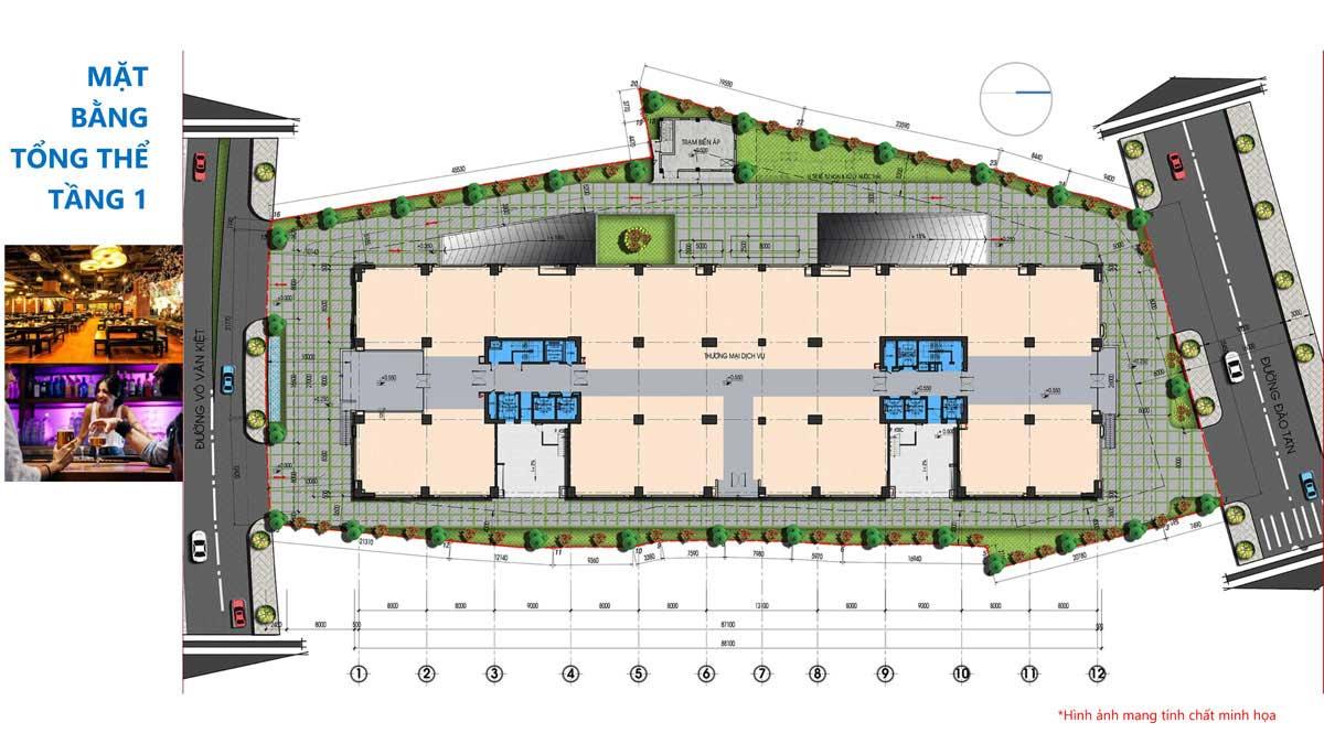Mặt bằng Tầng 1 Dự án Căn hộ Tam Đức Plaza Quận 5