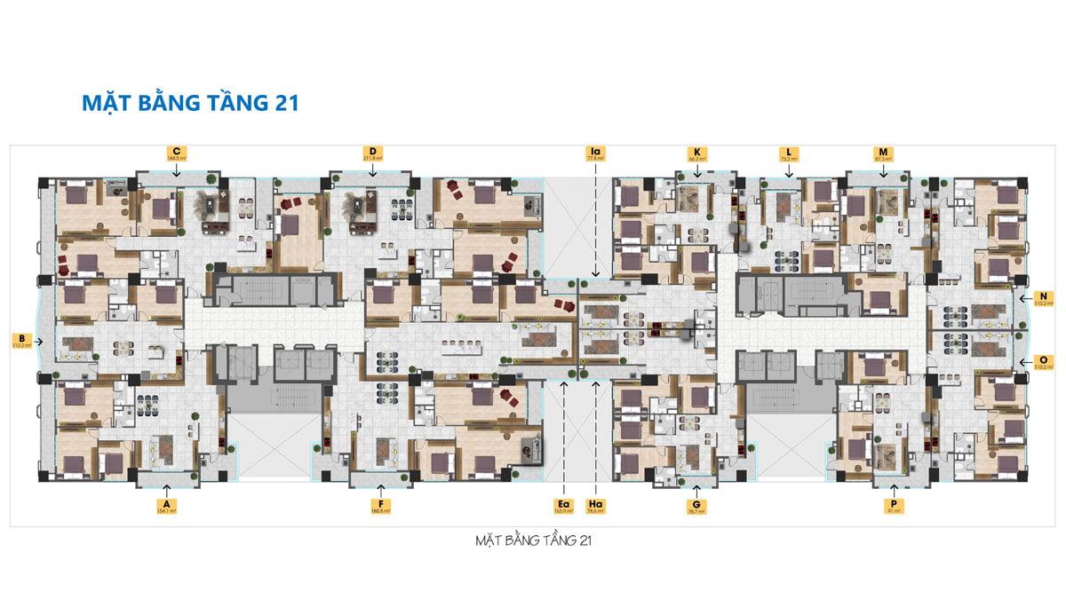 Mặt bằng Tầng 21 Dự án Căn hộ Tam Đức Plaza Quận 5