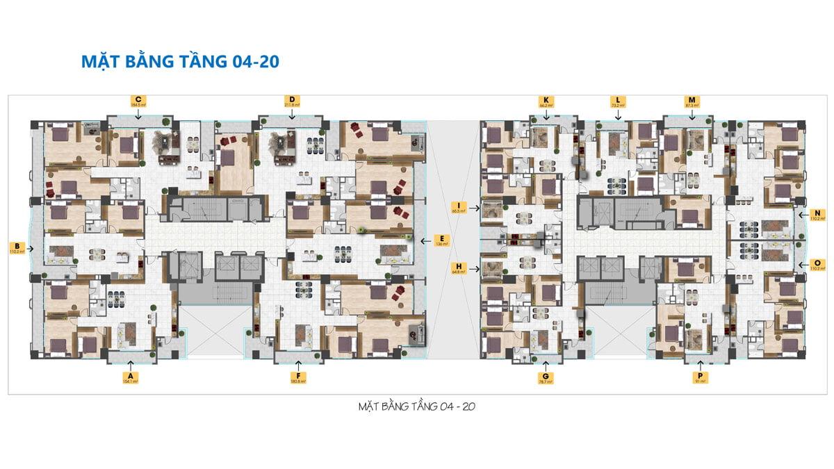 Mặt bằng Tầng 4 – 20 Dự án Căn hộ Tam Đức Plaza Quận 5