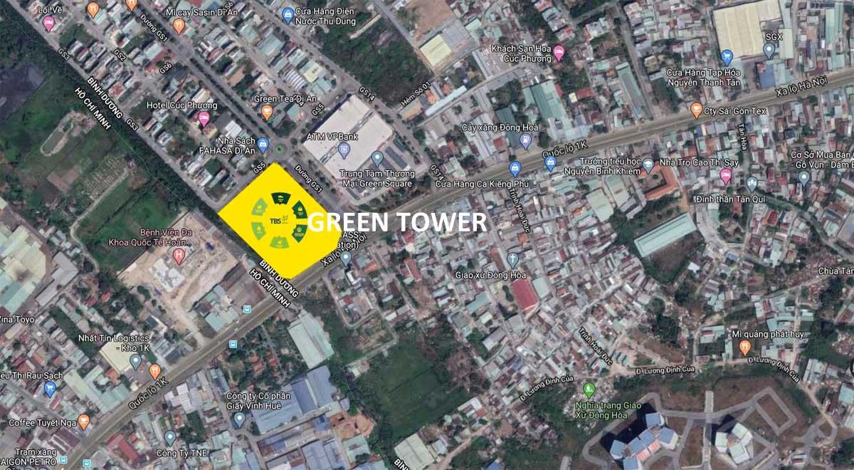 Vị trí Dự án Căn hộ Green Tower Dĩ An Bình Dương trên Google Maps