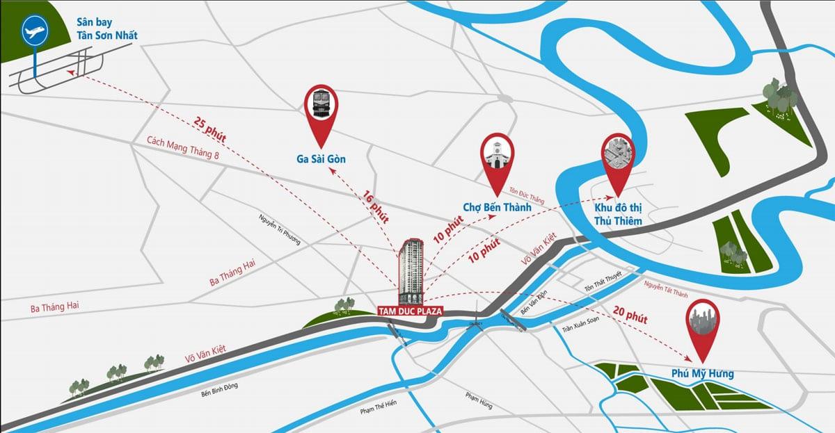 Sơ đồ Vị trí Dự án Căn hộ khu vực Tam Đức Plaza