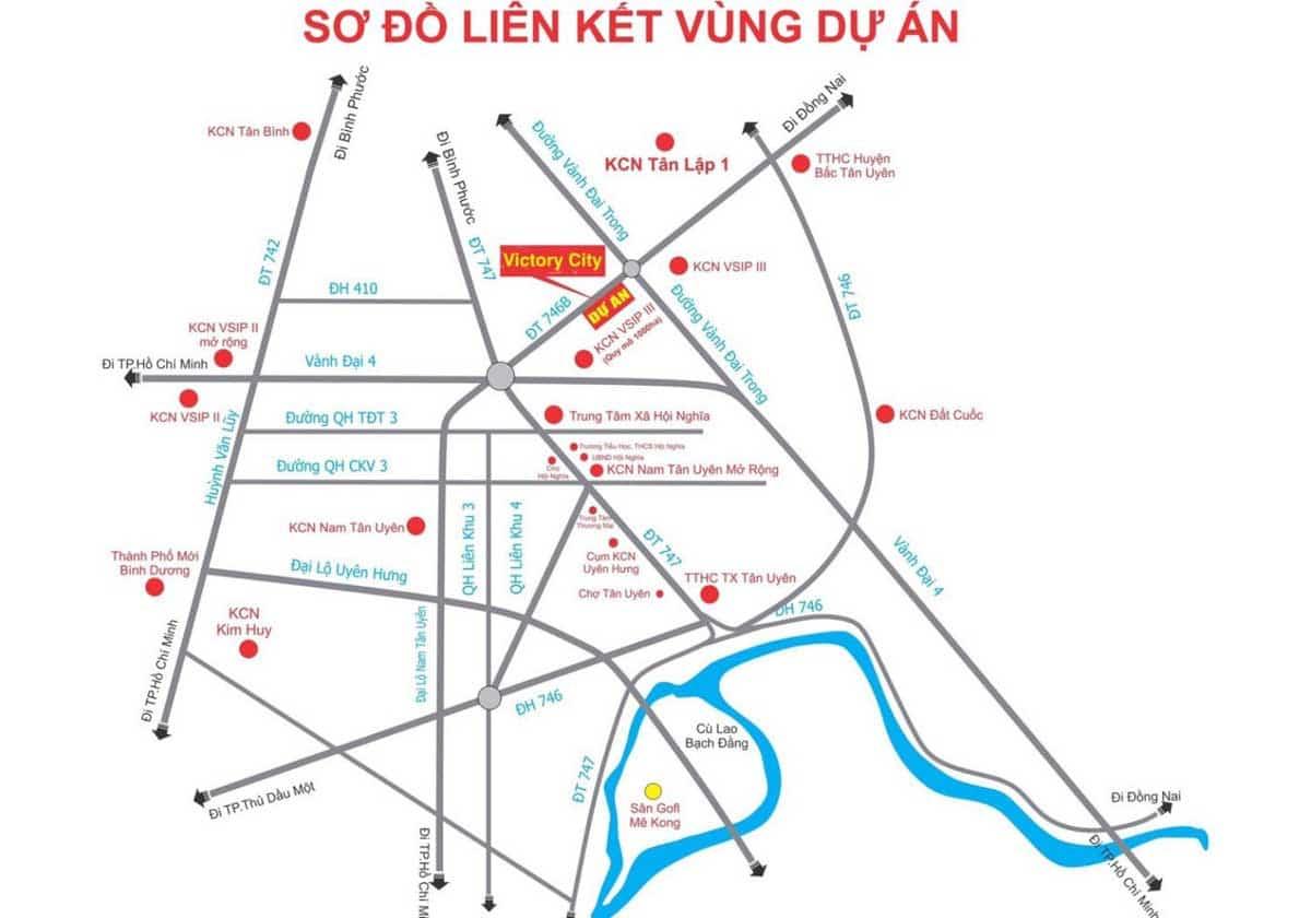 Vị trí Dự án Victory City Tân Uyên Bình Dương