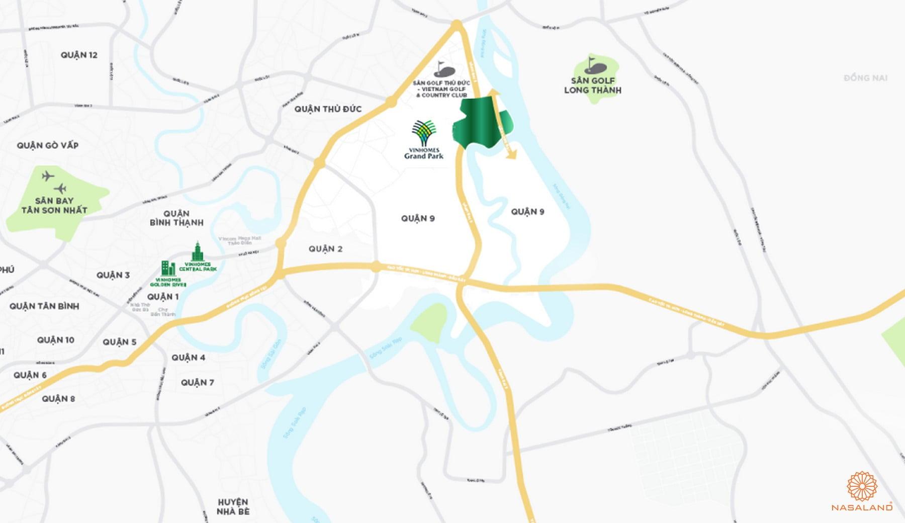 Vị trí địa chỉ dự án khu đô thị Vinhomes Grand Park Quận 9