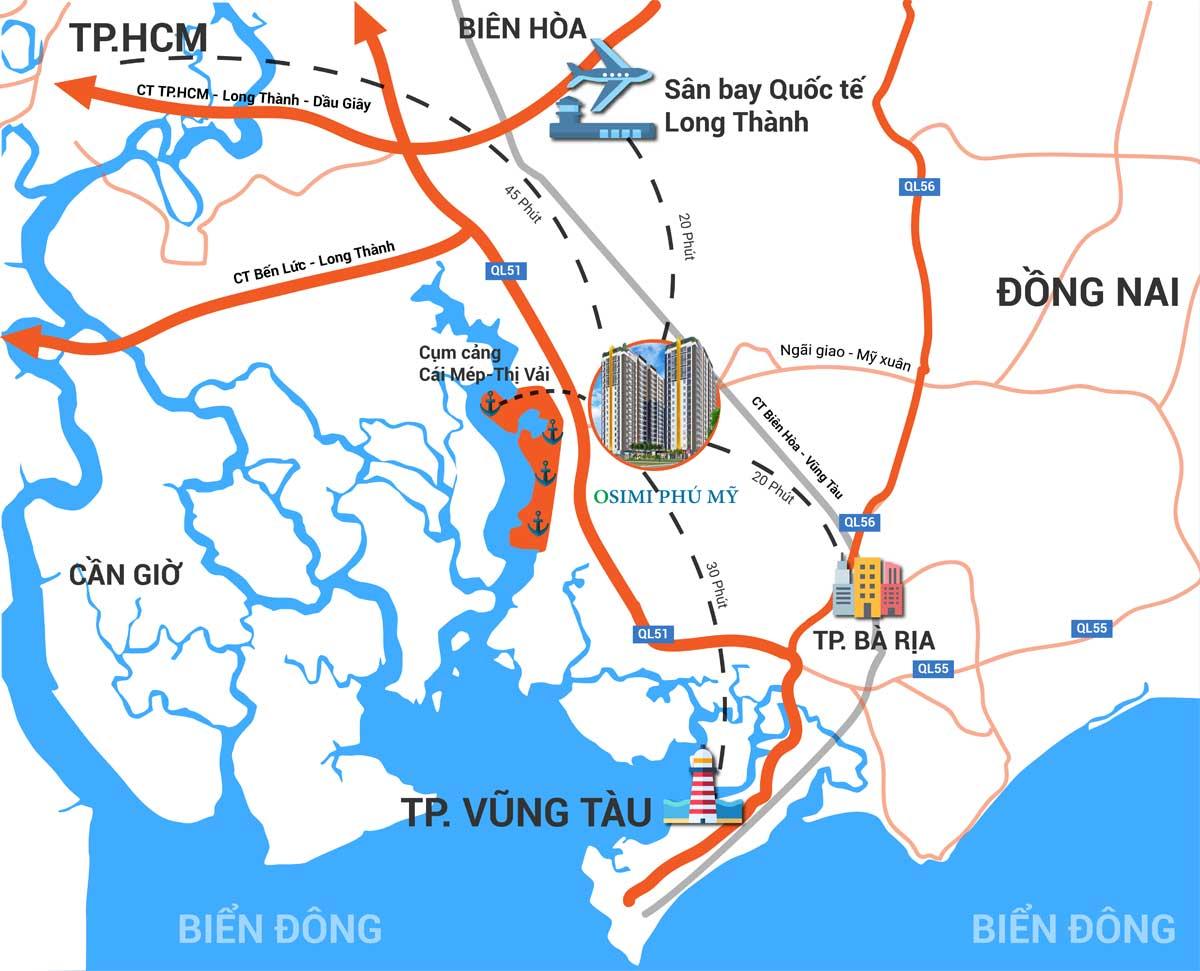 Bản đồ Vị trí liên kết vùng Dự án Căn hộ Osimi Phú Mỹ Bà Rịa Vũng Tàu