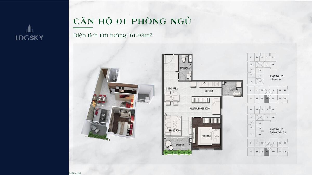 Thiết kế căn hộ 1 phòng ngủ LDG SKY