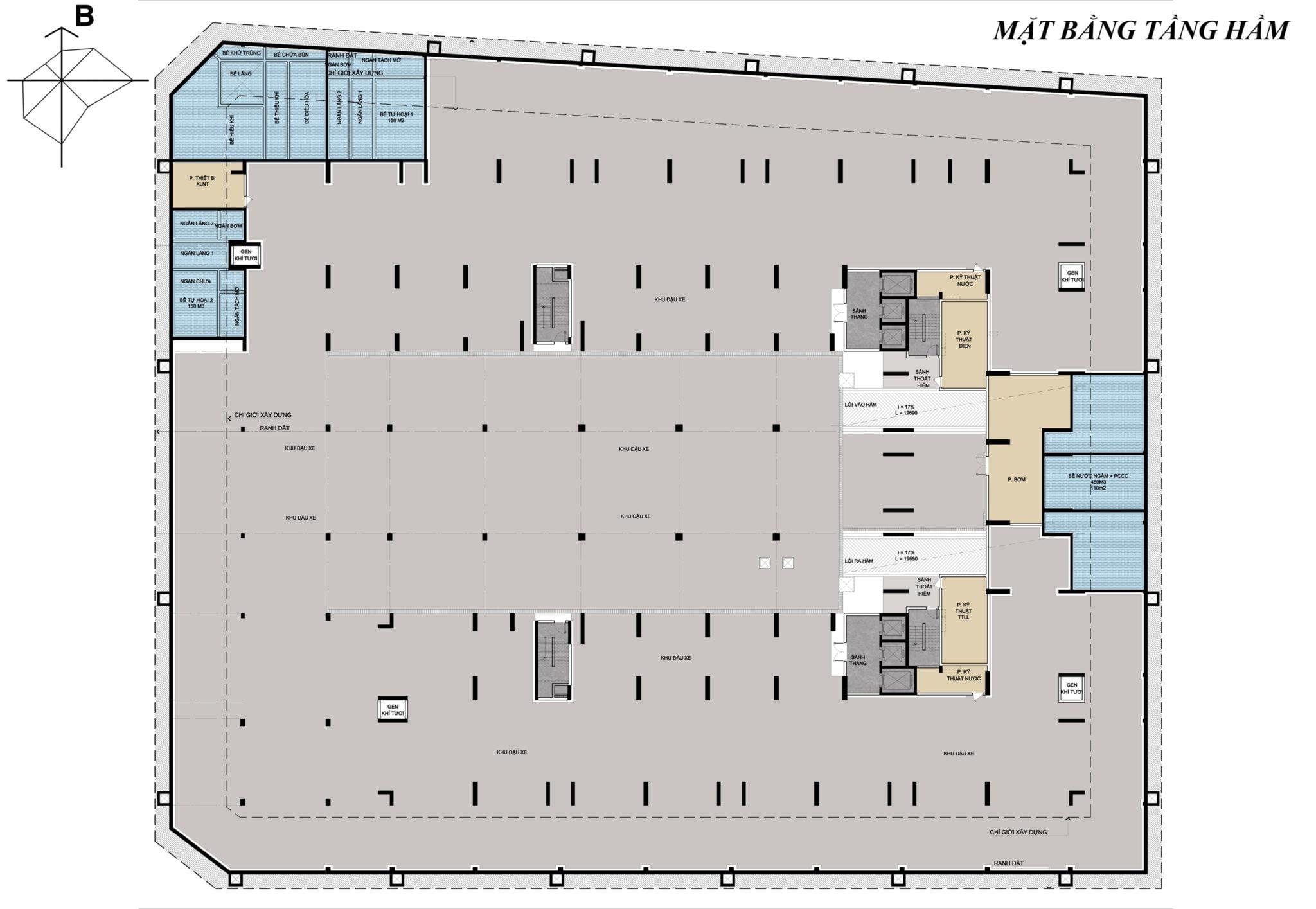 thiết kế tầng hầm dự án osimi phú mỹ