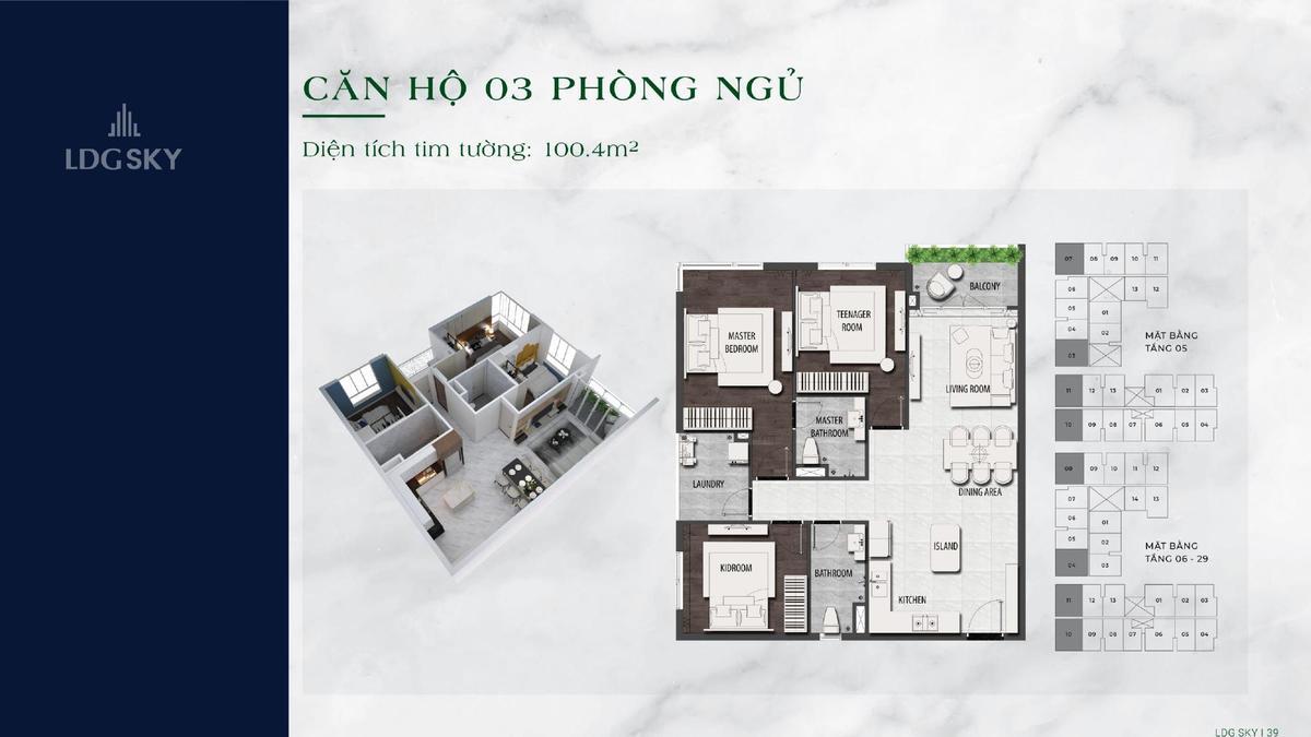 Thiết kế căn hộ 3 phòng ngủ LDG SKY