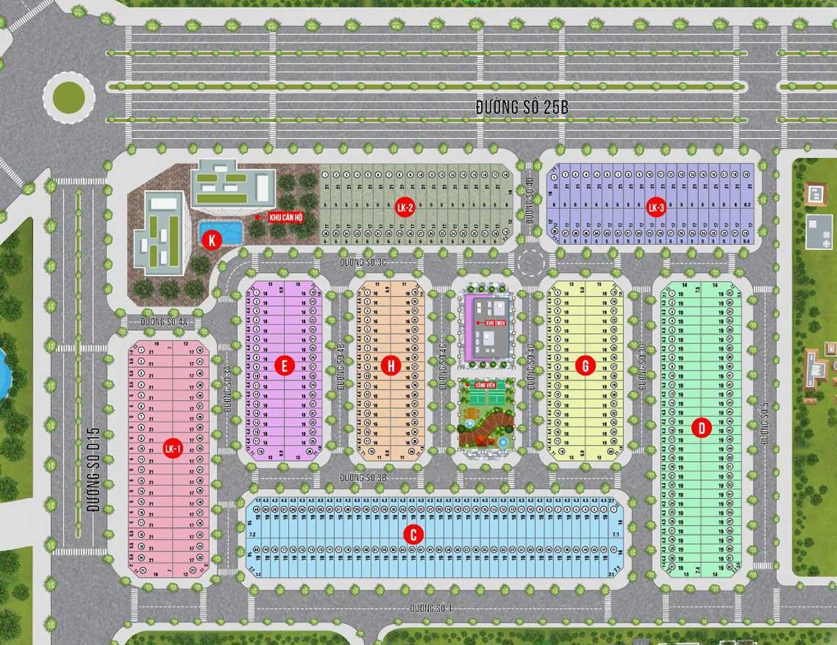 Mặt bằng phân lô Mặt bằng Dự án The Centre House Nhơn Trạch Đồng Nai