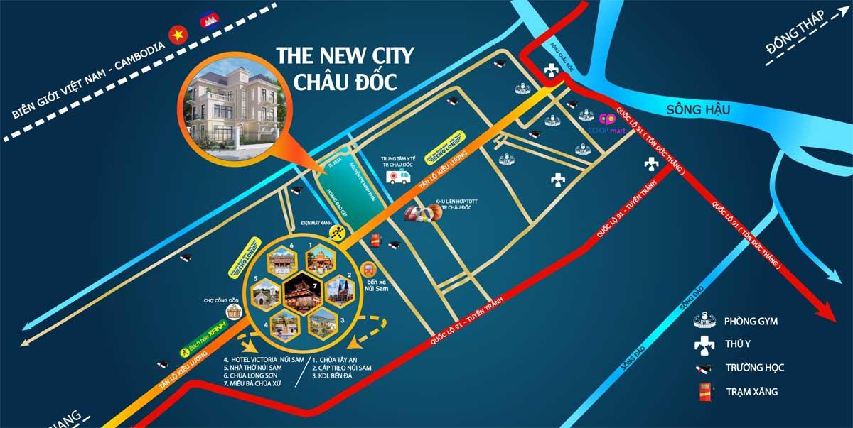 Vị trí Dự án Khu đô thị The New City Châu Đốc An Giang