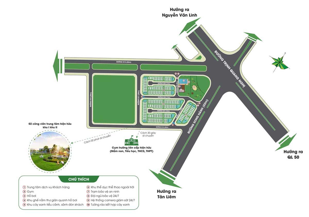 Mặt bằng phân lô Dự án Nhà phố Lovera Premier Bình Chánh