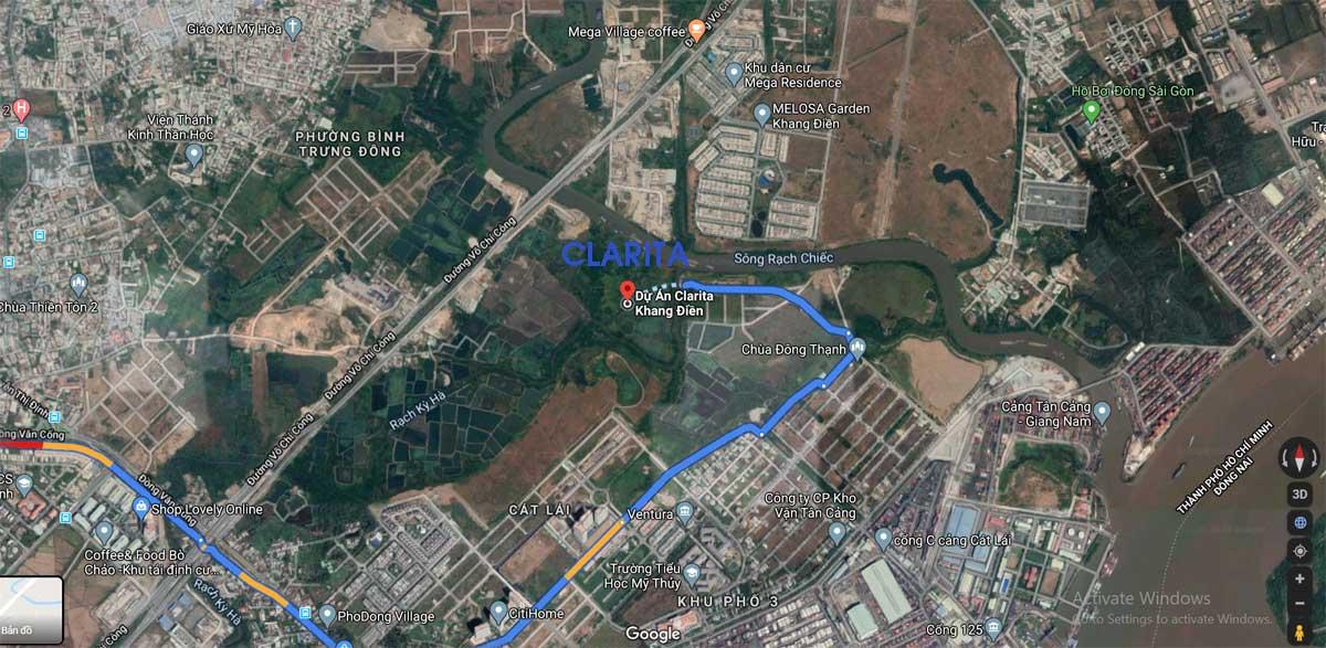 Vị trí Dự án Nhà phố – Biệt thự Nhà phố Clarita Khang Điền Quận 2