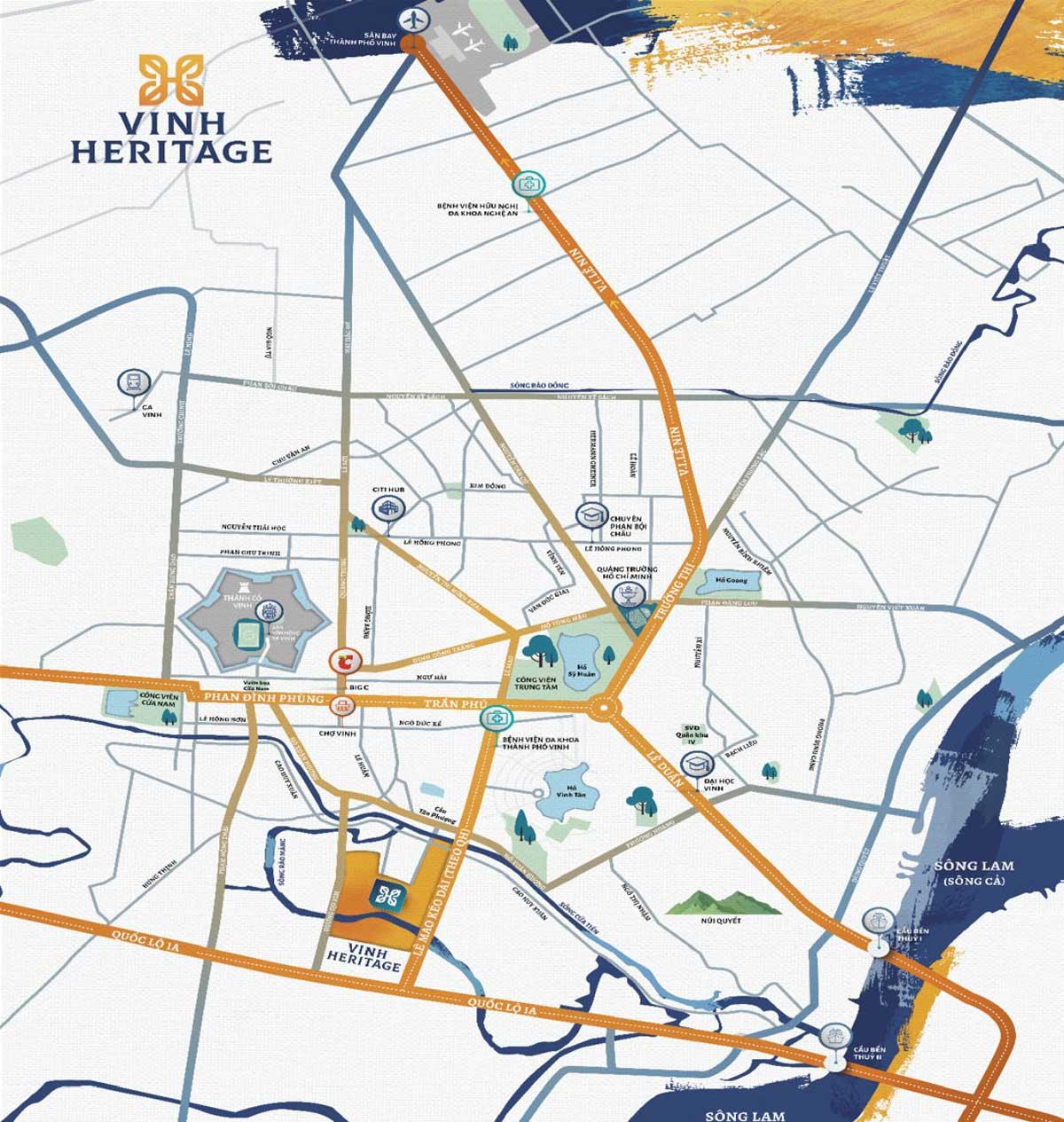 Vị trí dự án khu đô thị Vinh Heritage
