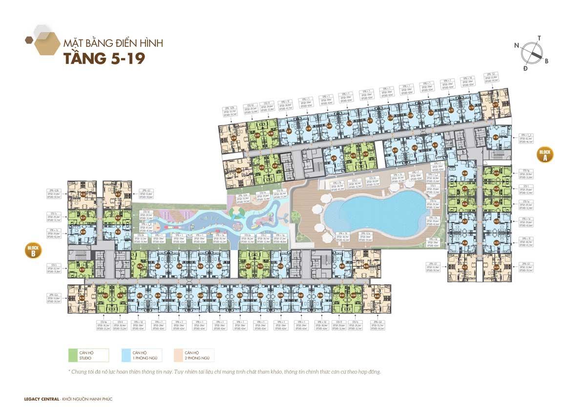 Mặt bằng Tầng 5-9 Dự án Legacy Central Thuận An Bình Dương