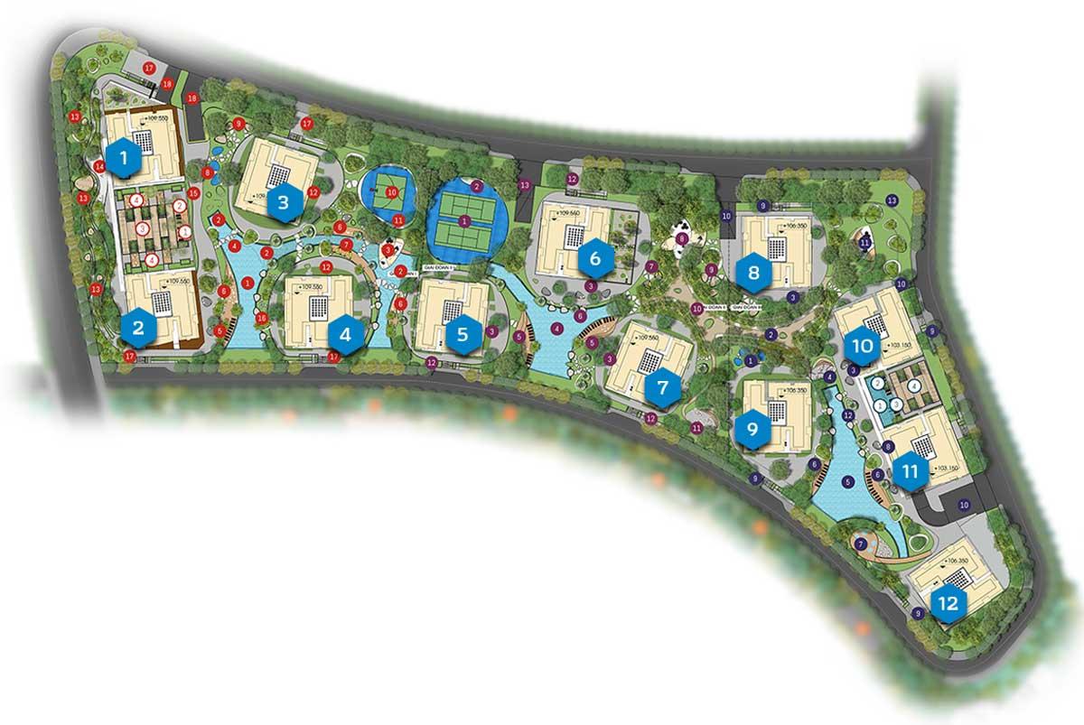 Mặt bằng tổng thể Khu căn hộ cao cấp Gem Riverside Quận 2