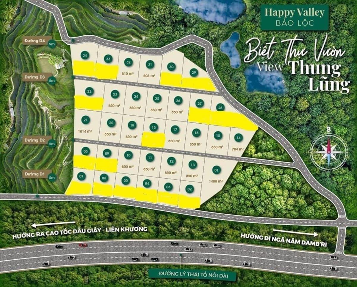 Mặt bằng thiết kế dất nền biệt thự Happy Valley