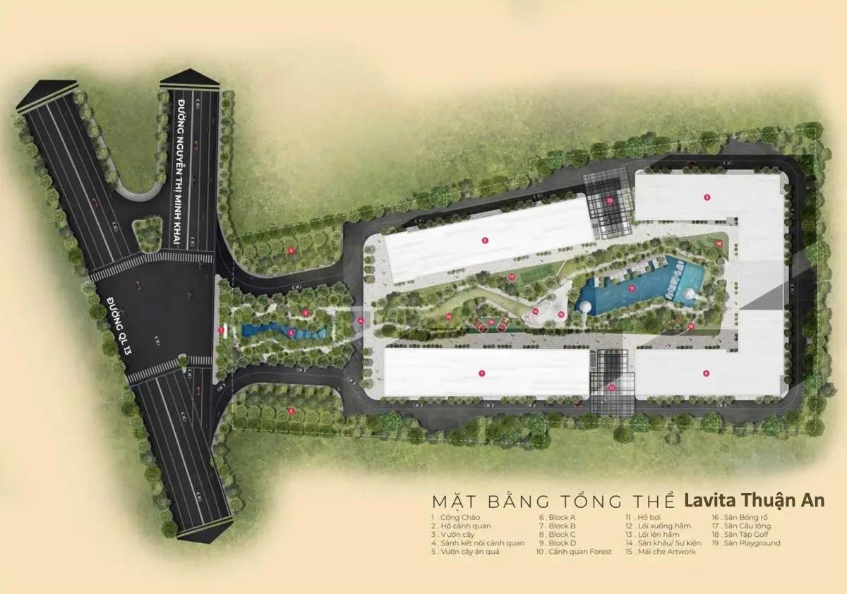 Mặt bằng Tổng thể Dự án Căn hộ Lavita Thuận An Bình Dương