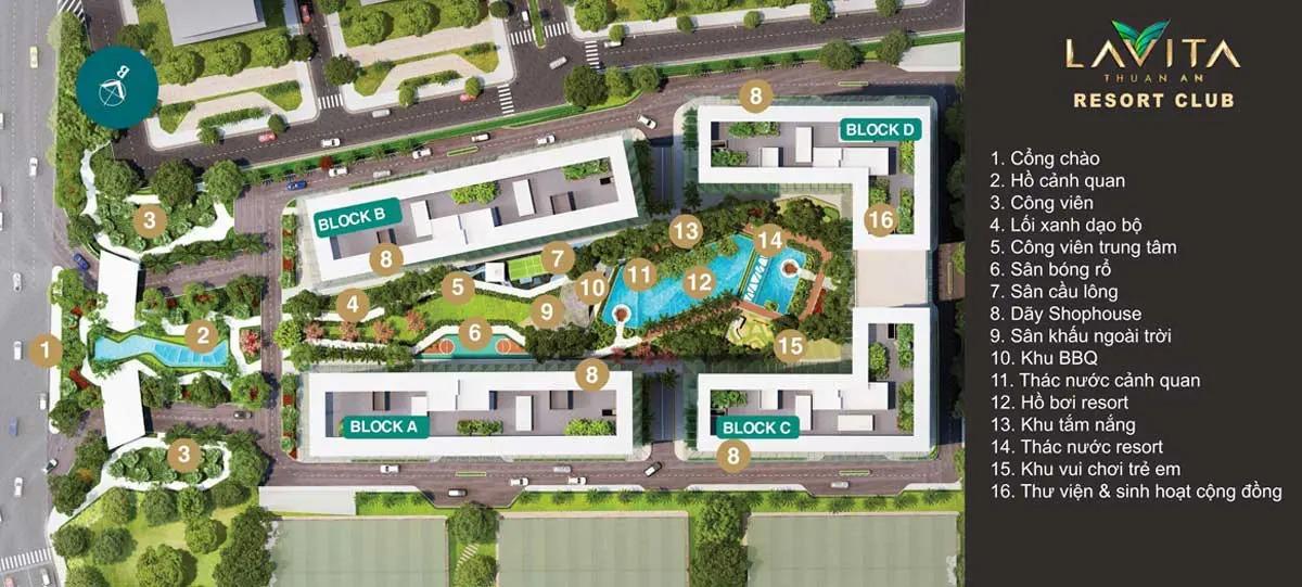 Mặt bằng tiện ích nội khu chung cư Lavita Thuận An Bình Dương