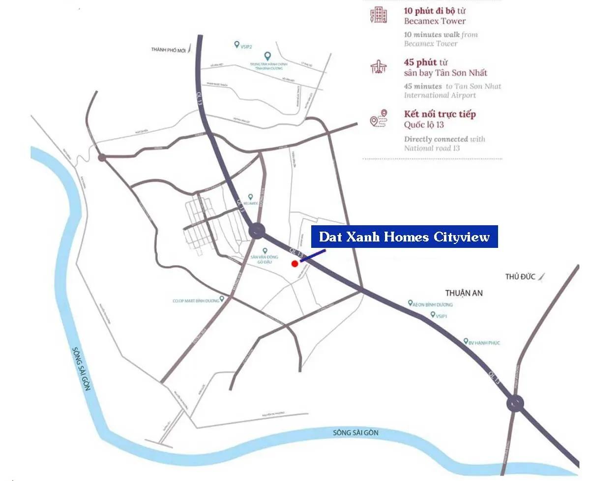 Vị trí Dự án Căn hộ Chung cư Dat Xanh Homes CityView Bình Dương
